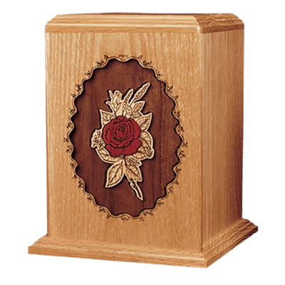 Rose Oak Wood Cremation Urn