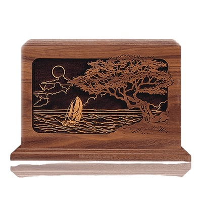 Seascape Walnut Wood Cremation Urn