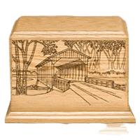 Covered Bridge Wood Cremation Urn