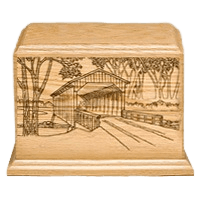 Covered Bridge Wood Cremation Urn