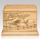 Farm Wood Cremation Urn