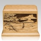 Shining Seas Wood Cremation Urn