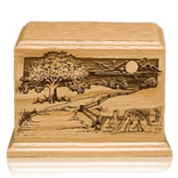 Farm Road Wood Cremation Urn