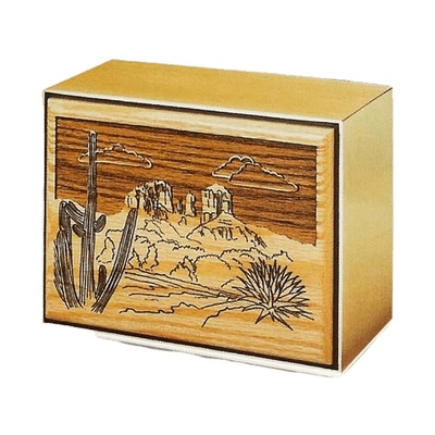 Desert Bronze & Wood Cremation Urn
