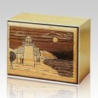 Lighthouse Bronze & Wood Cremation Urn