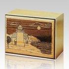 Lighthouse Bronze & Wood Cremation Urn