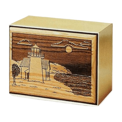 Lighthouse Bronze Wooden Cremation Urn
