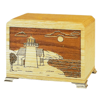 Lighthouse Oak Wooden Urn