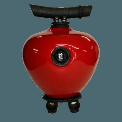 Raku Red Wish Keeper Double Urn