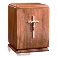 Classic Crucifix Wood Cremation Urn