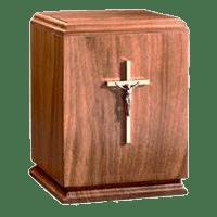 Classic Crucifix Wood Cremation Urn