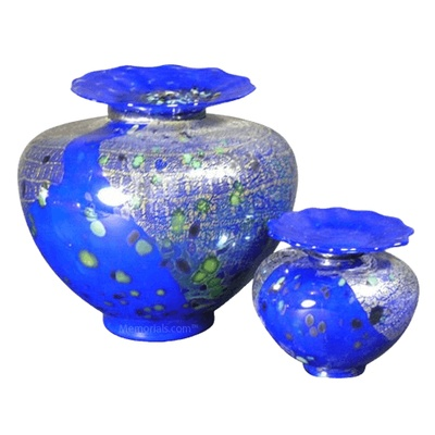Milano Bluetonia Glass Cremation Urns