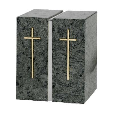 Vert Jade Silver Granite Urn for Two
