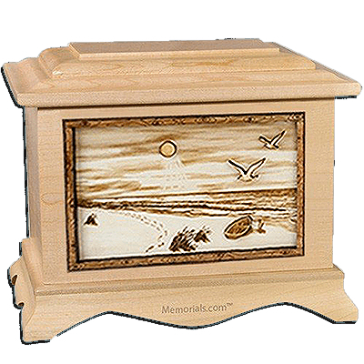Walk On The Beach Maple Cremation Urn for Two