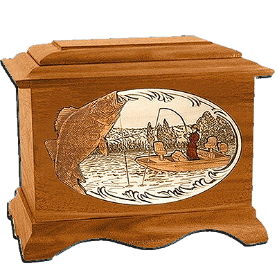 Walleye Fishing Mahogany Cremation Urn for Two