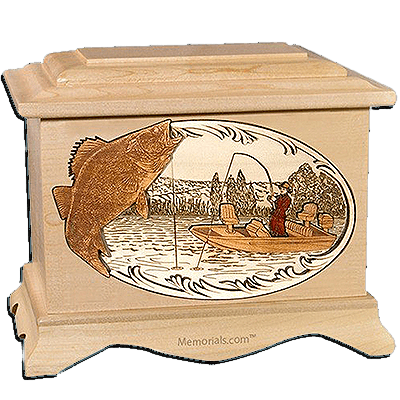 Walleye Fishing Maple Cremation Urn for Two