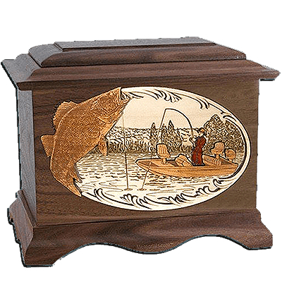 Walleye Fishing Walnut Cremation Urn For Two