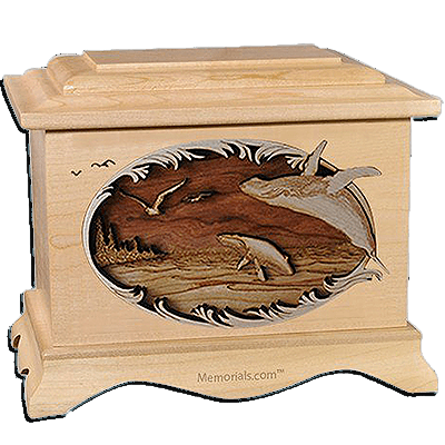 Whales Maple Cremation Urn for Two