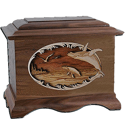 Whales Walnut Cremation Urn For Two