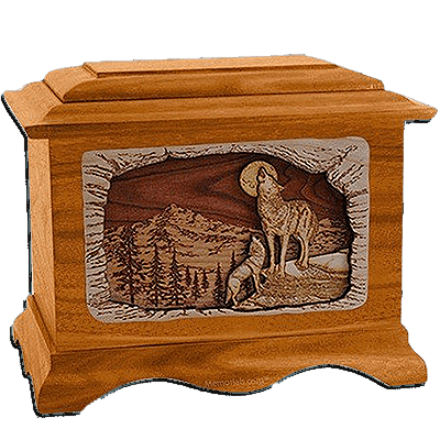 Wolves Mahogany Cremation Urn for Two