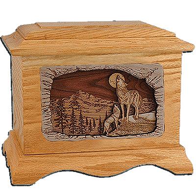 Wolves Oak Cremation Urn for Two