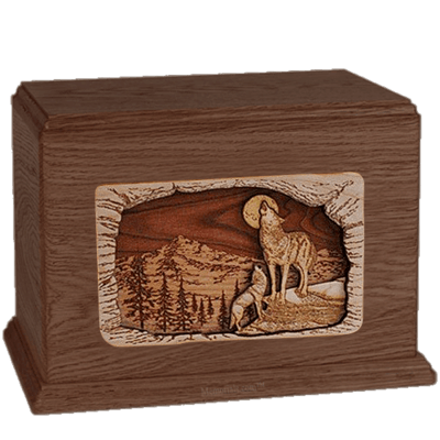 Wolves Walnut Companion Urn
