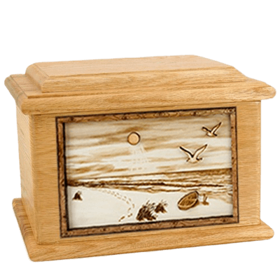 Walking on the Beach Oak Memory Chest Cremation Urn