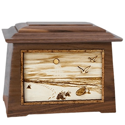 Walking on the Beach Walnut Aristocrat Cremation Urn