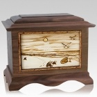 Walking on the Beach Walnut Cremation Urn