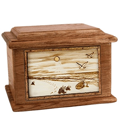 Walking on the Beach Walnut Memory Chest Cremation Urn