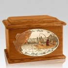 Walleye Fishing Mahogany Memory Chest Cremation Urn