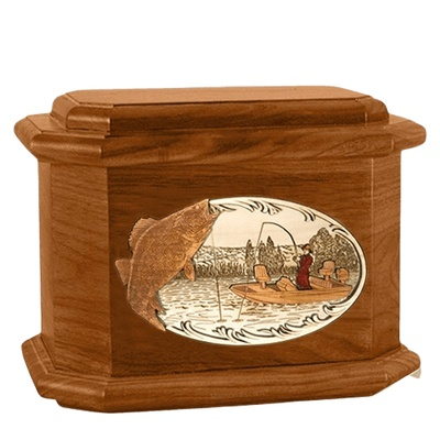 Walleye Fishing Mahogany Octagon Cremation Urn