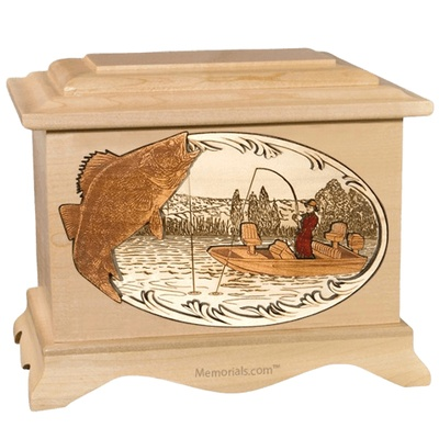 Walleye Fishing Maple Cremation Urn