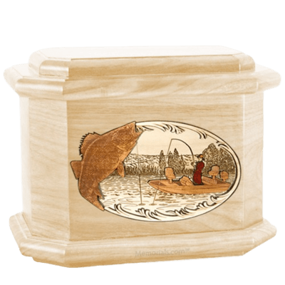 Walleye Fishing Maple Octagon Cremation Urn