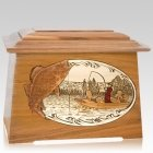 Walleye Fishing Oak Aristocrat Cremation Urn