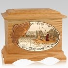 Walleye Fishing Oak Cremation Urn
