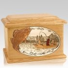 Walleye Fishing Oak Memory Chest Cremation Urn