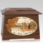Walleye Fishing Walnut Aristocrat Cremation Urn
