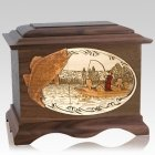 Walleye Fishing Walnut Cremation Urn