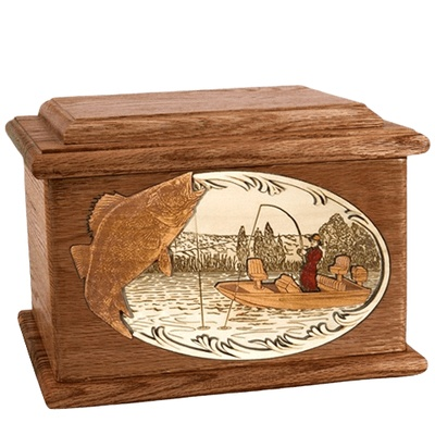 Walleye Fishing Walnut Memory Chest Cremation Urn