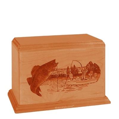 Walleye Individual Mahogany Wood Urn