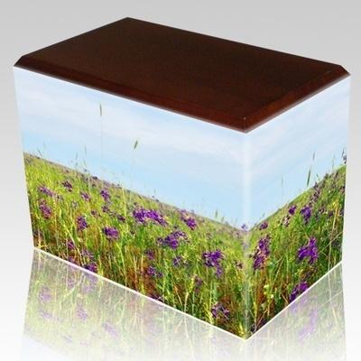 Field of Violets Walnut Child Cremation Urn III