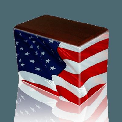 Patriotic Walnut Child Cremation Urn