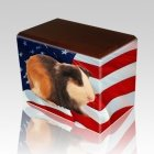 US Flag Walnut Pet Picture Urn