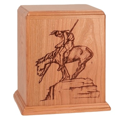 Warrior Cherry Wood Cremation Urn