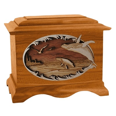 Whale & Calf Mahogany Cremation Urn