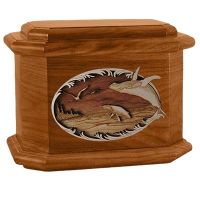 Whale & Calf Mahogany Octagon Cremation Urn