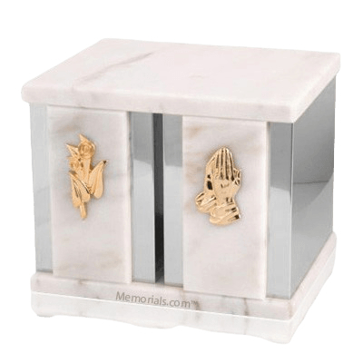 White Peace Silver Urn For Two