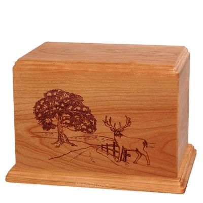 Whitetail Companion Cherry Wood Urn