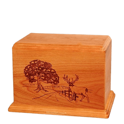 Whitetail Individual Mahogany Wood Urn